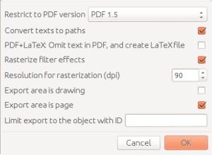 Inkscape-Einstellungen für den Export nach PDF.